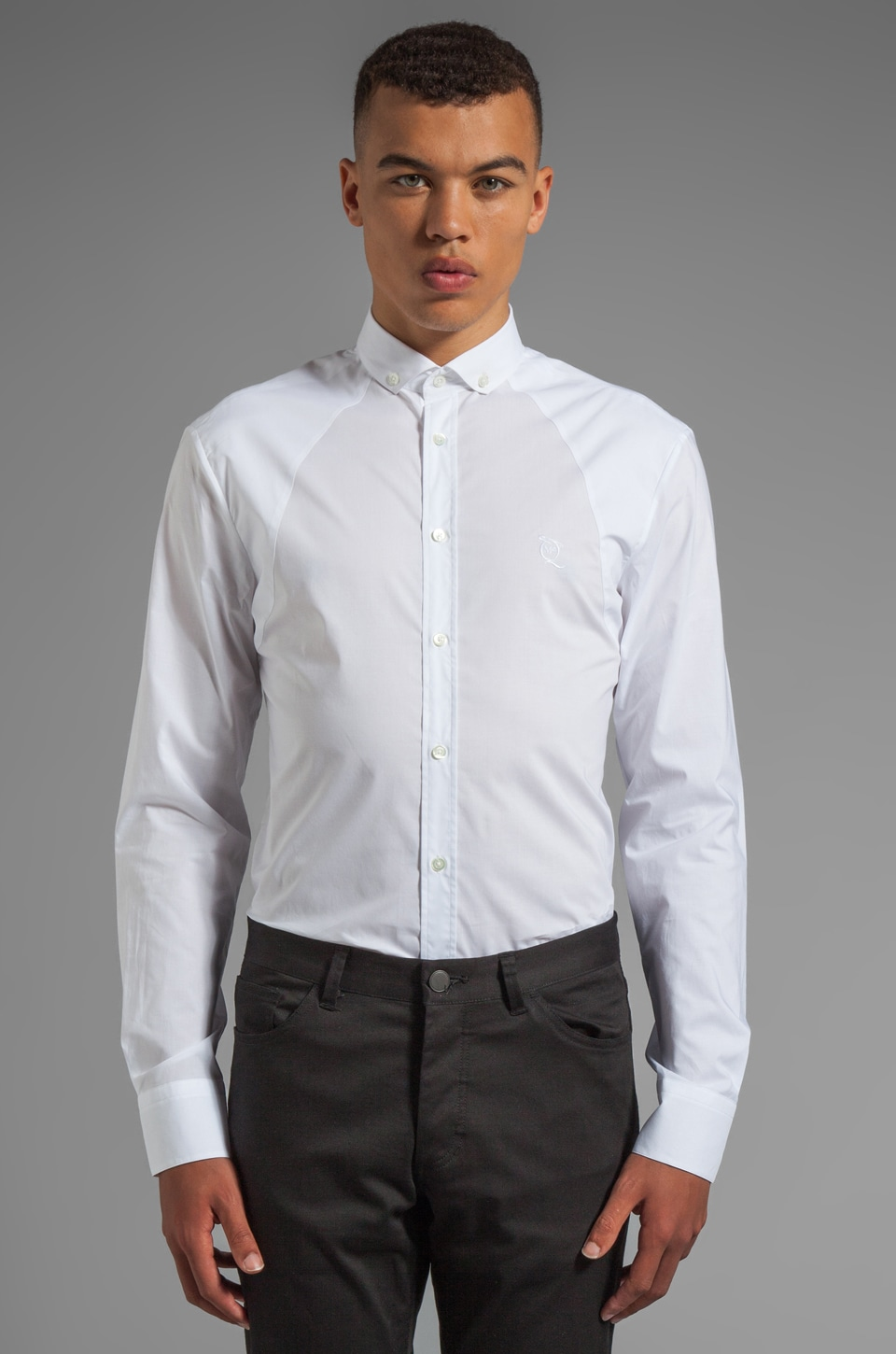 McQ Alexander McQueen Shirting Harness Button Up in Optic White