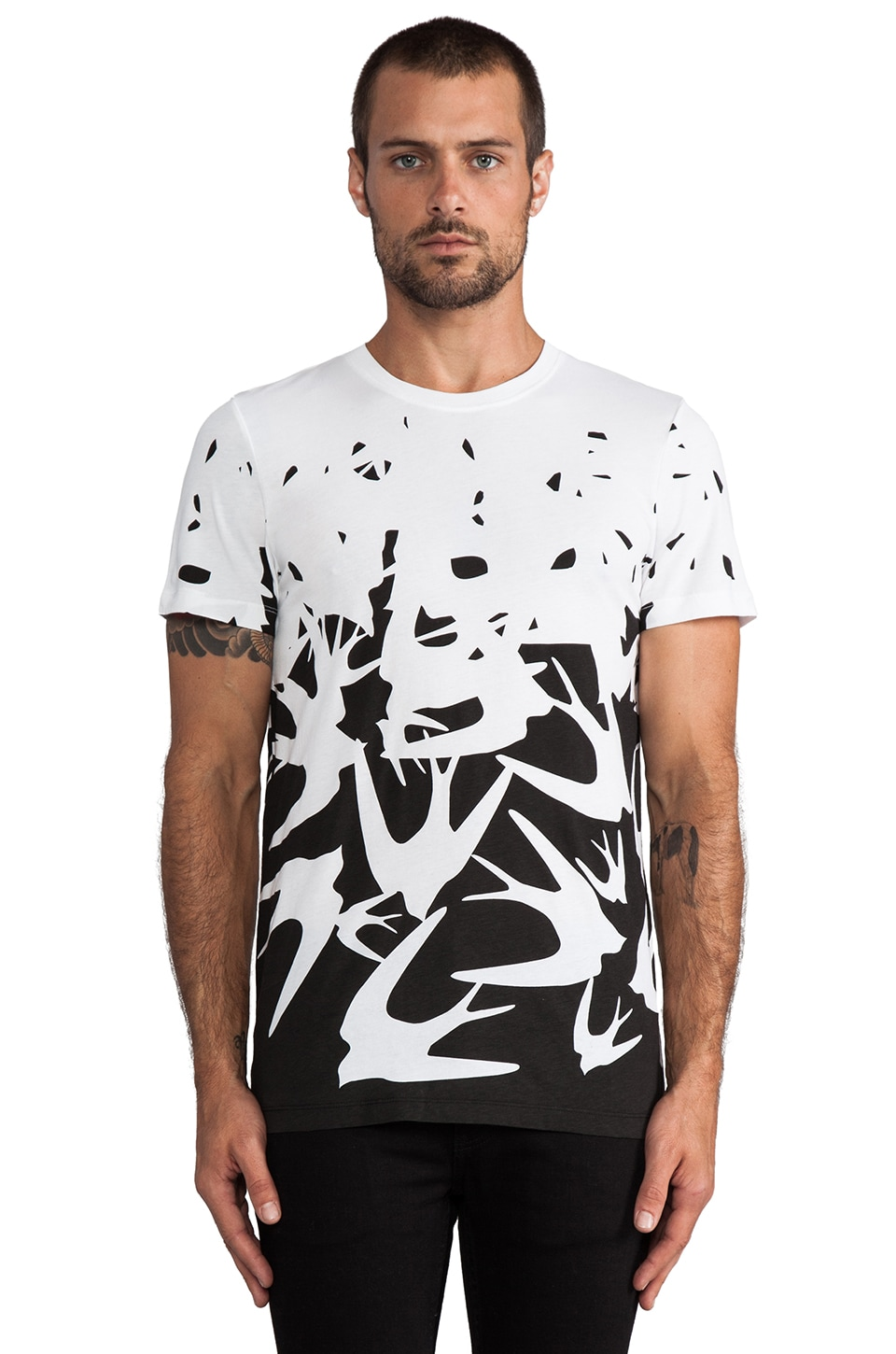 McQ Alexander McQueen MG Swallow Tee in Optic White