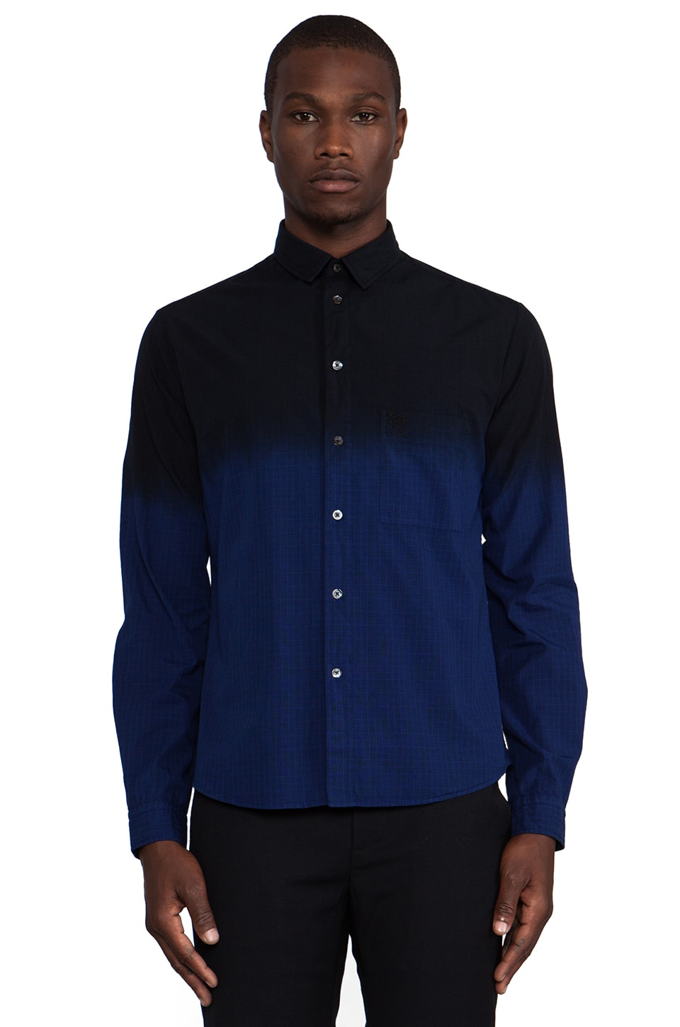 McQ Alexander McQueen Dip Dye Button Down in Cobalt/ Darkest Black