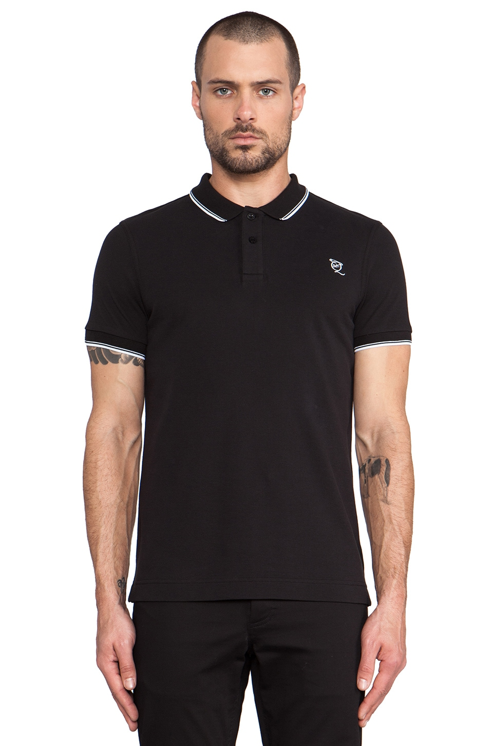 McQ Alexander McQueen Logo Polo in Darkest Black