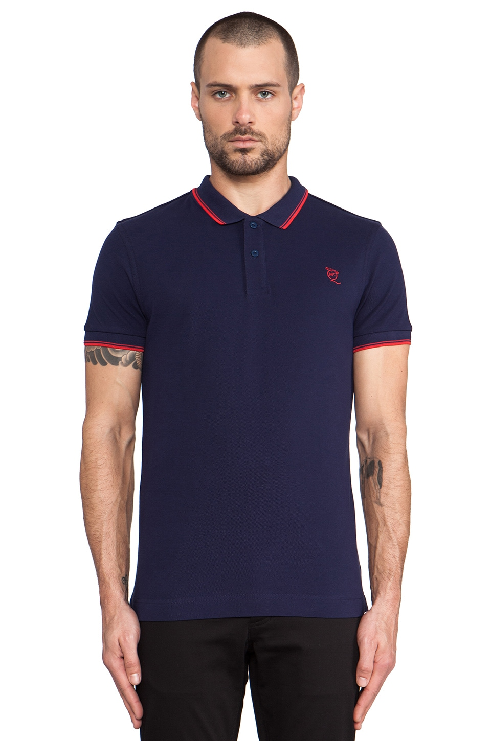 McQ Alexander McQueen Logo Polo in True Navy