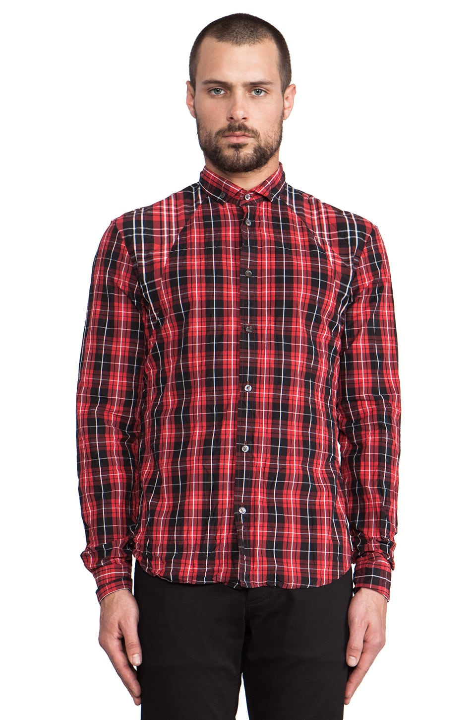 McQ Alexander McQueen Harness Shirt in Tartan Red