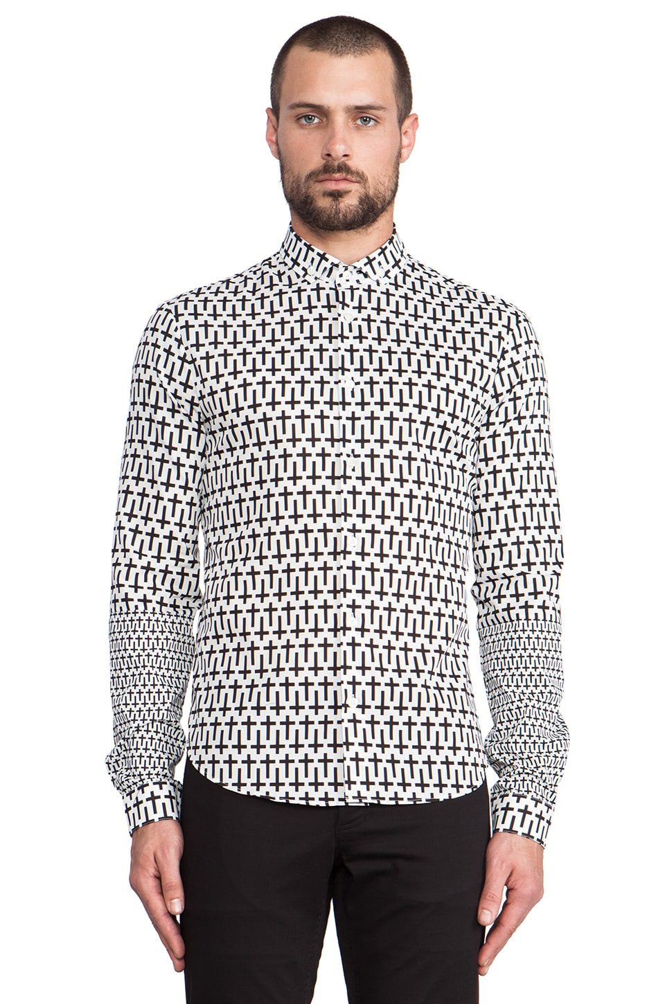 McQ Alexander McQueen Print Patch Shirt in Optic White Optic
