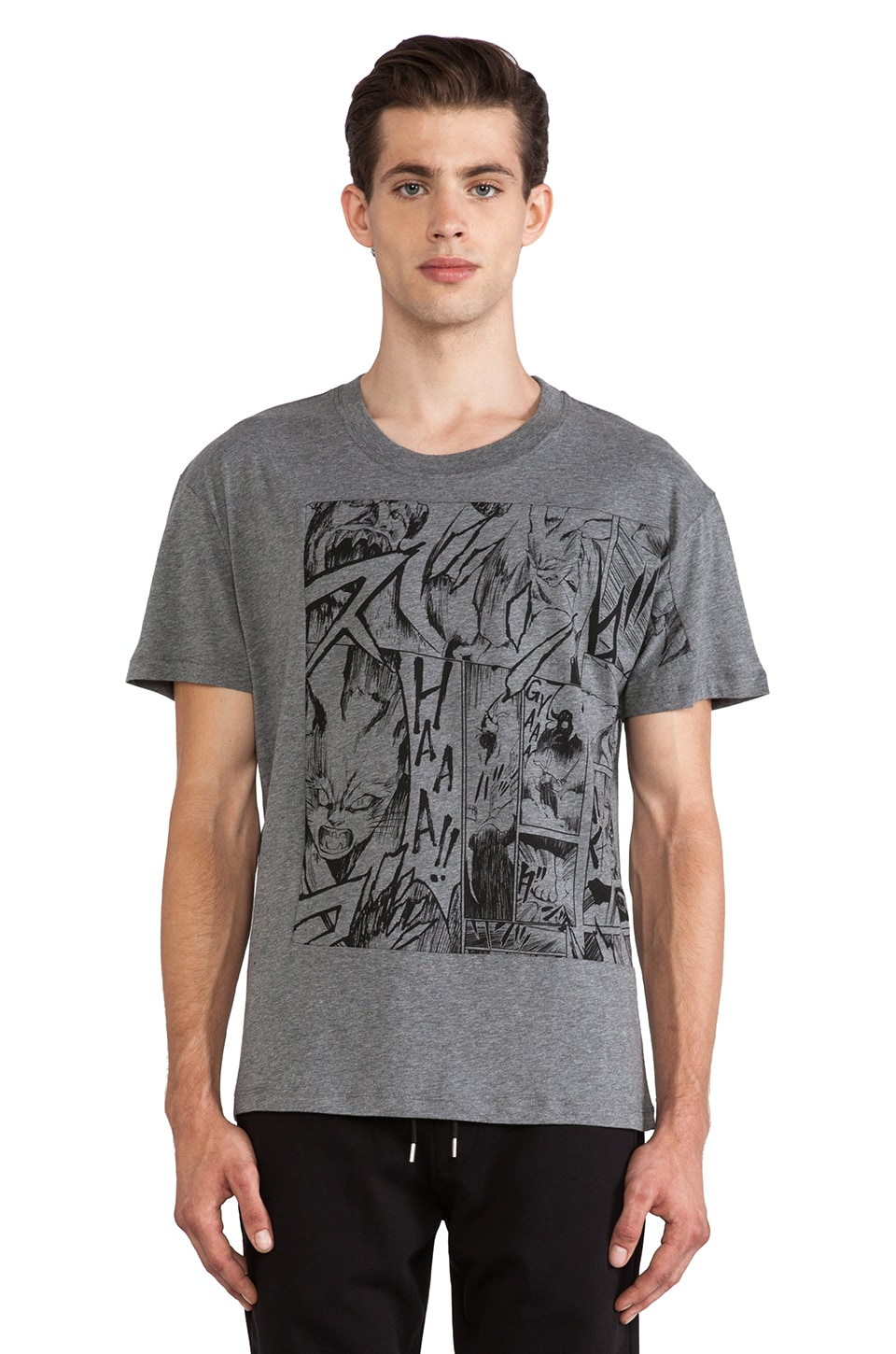 McQ Alexander McQueen Dropped Shoulder Tee in Grey Melange