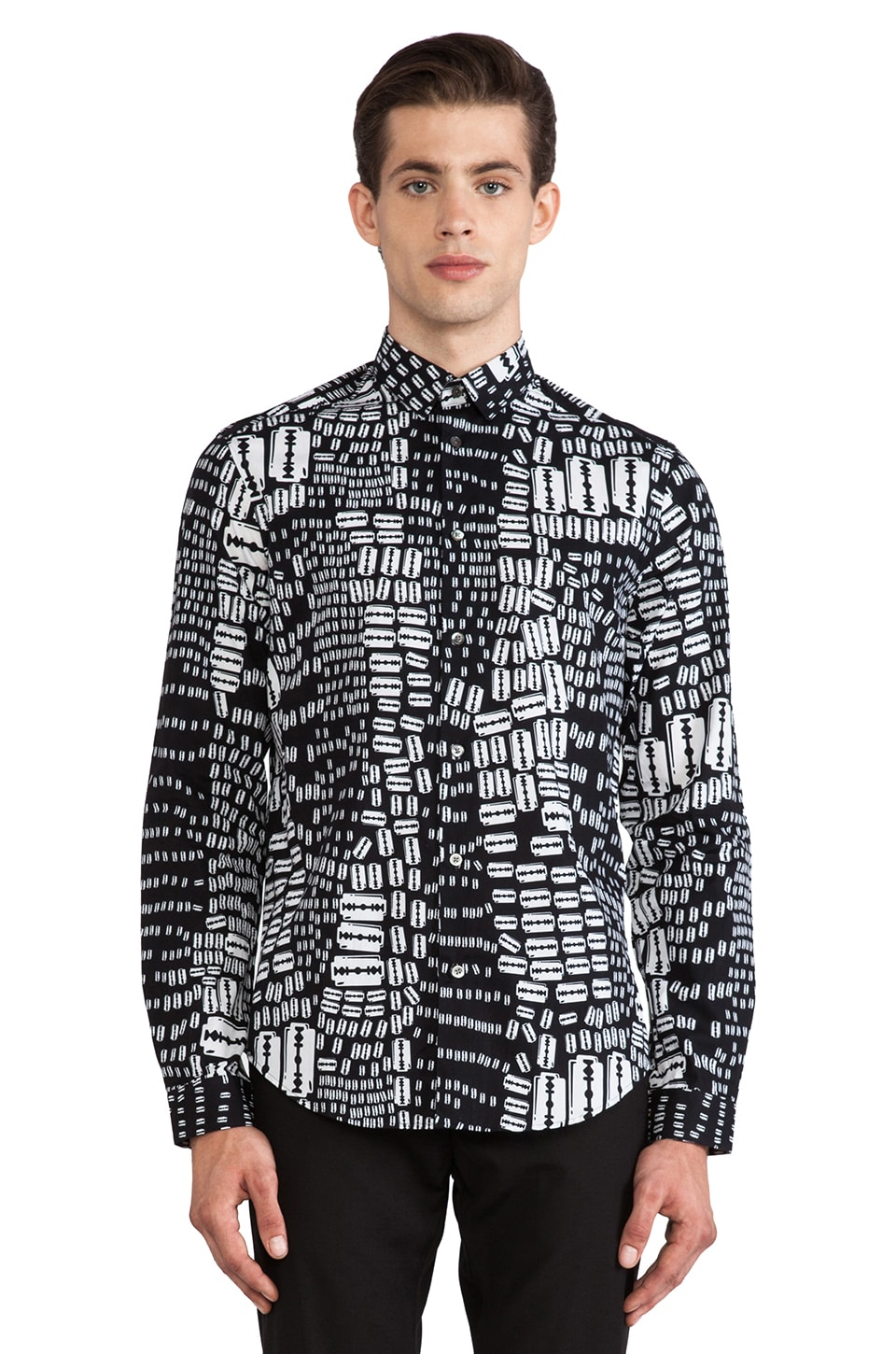 McQ Alexander McQueen Graphic Fitted Button Down in Optic White Razor