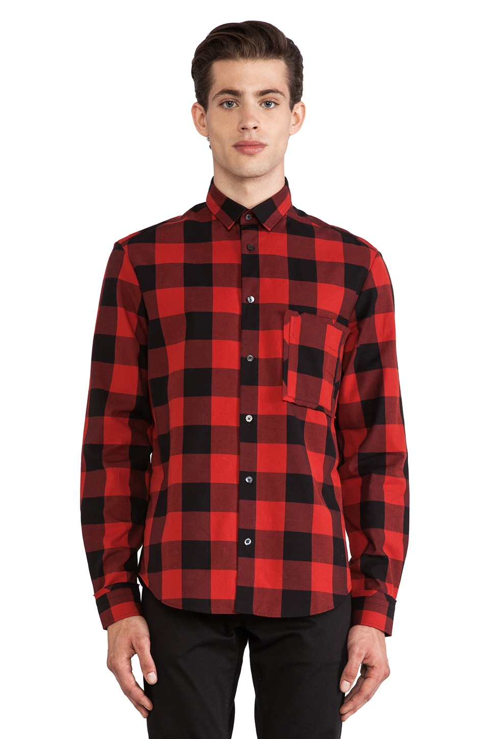 McQ Alexander McQueen Raw Pocket Button Down in Burnt Brick Lumberjack