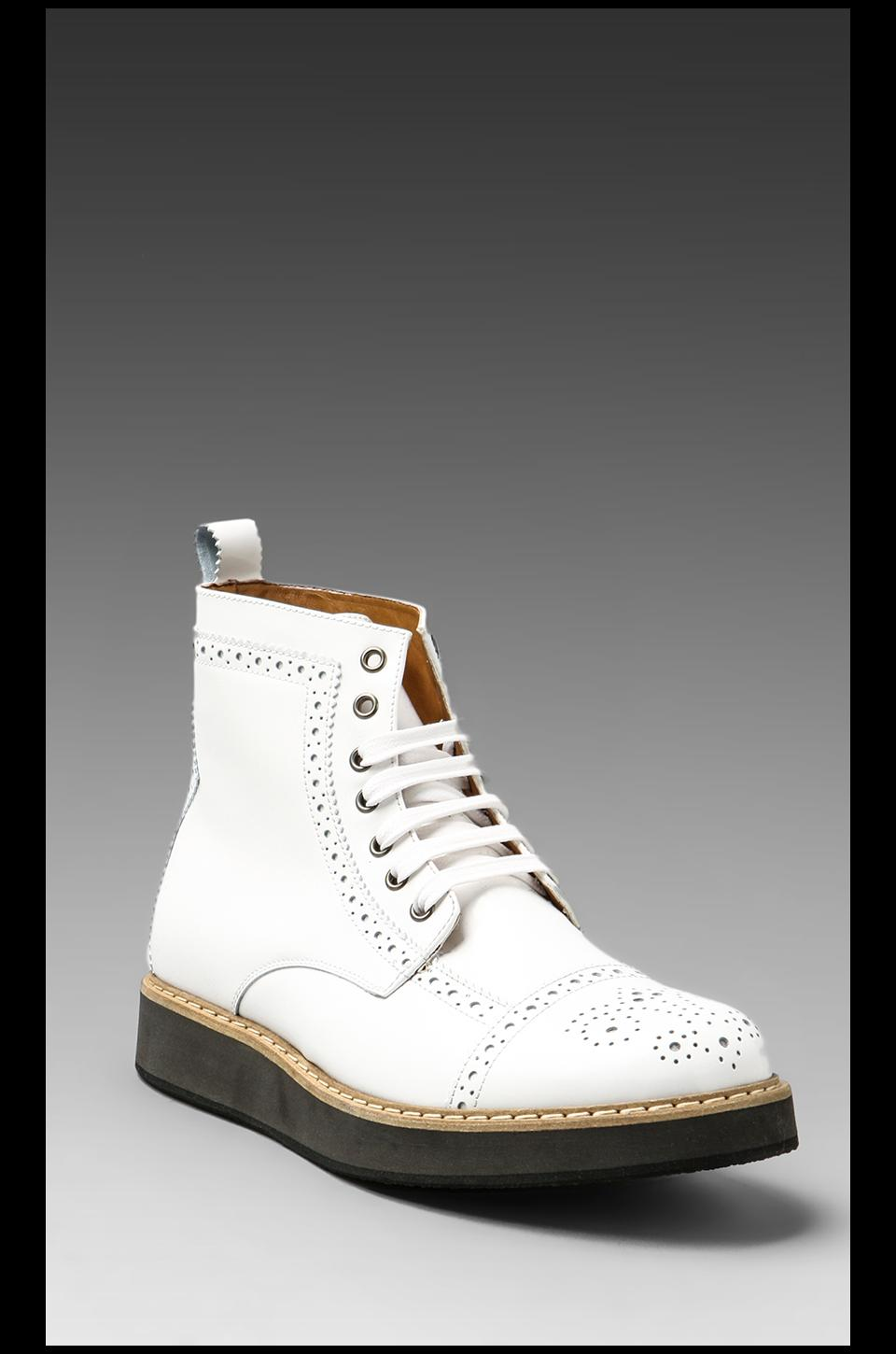 McQ Alexander McQueen Mid Brogue Derby Toe Boot in White