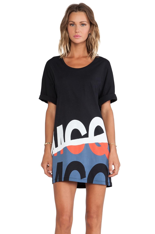 McQ Alexander McQueen Folded Print T Sleeve Dress in Black
