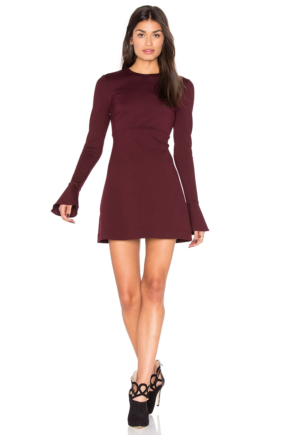McQ Alexander McQueen Volant Long Sleeve Dress in Port