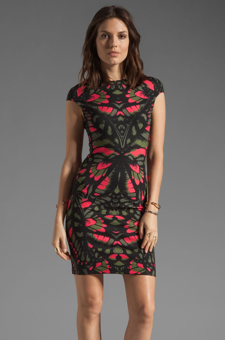 McQ Alexander McQueen Cap Sleeve Dress in Pink/Military/Trench