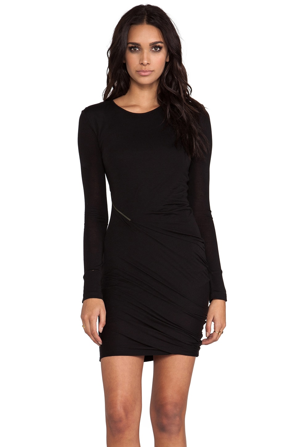 McQ Alexander McQueen Zip Off Long Sleeve Dress in Black
