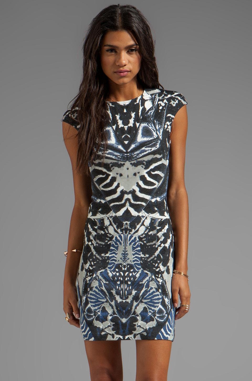 McQ Alexander McQueen Interlock Kaleidoscope Print Dress in Indigo/Black