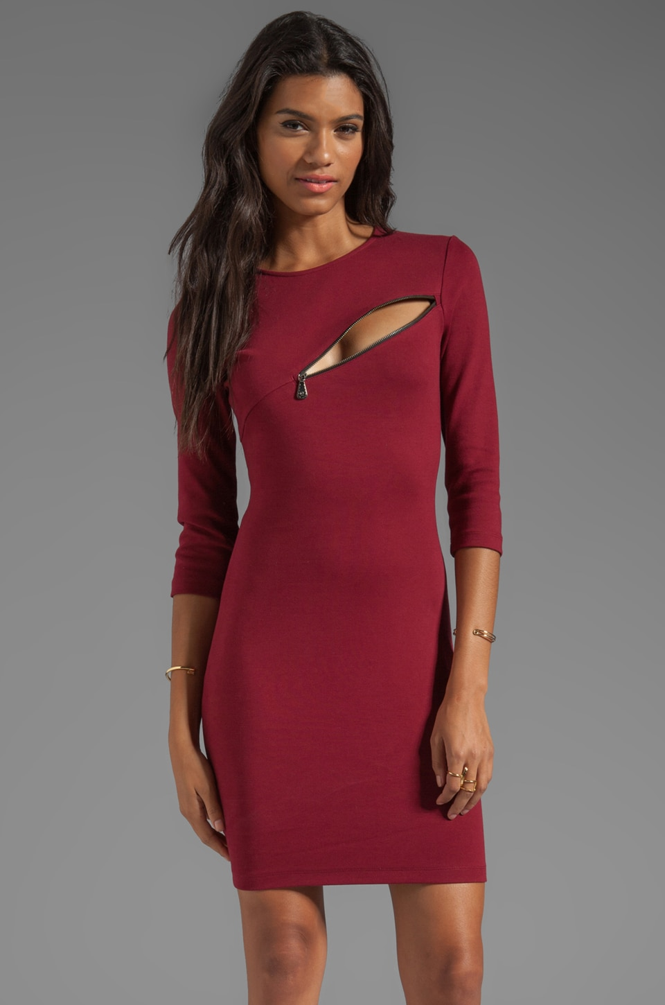 McQ Alexander McQueen 3/4 Sleeve Zip Dress in Oxblood