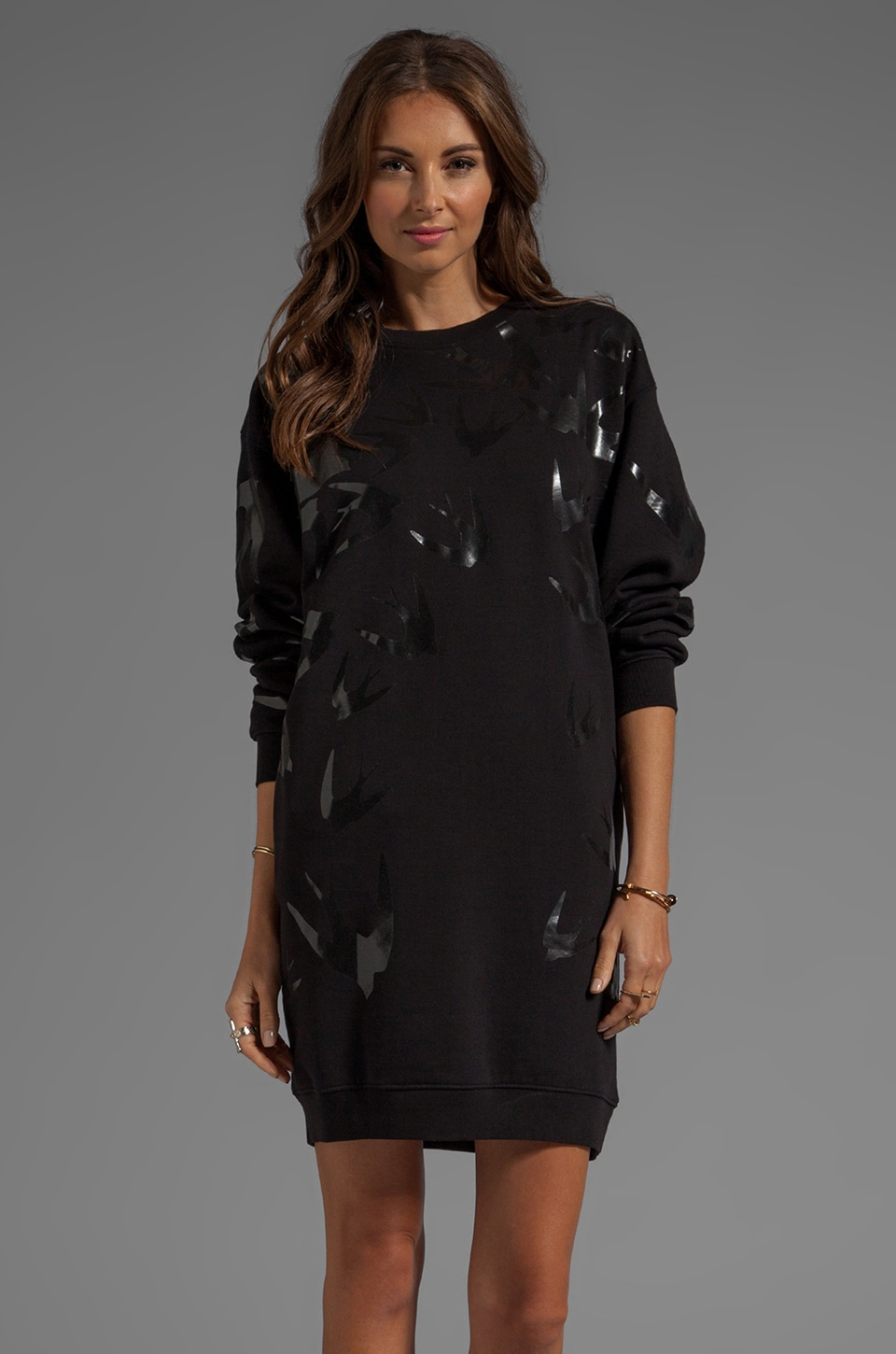 McQ Alexander McQueen Sweatshirt Swallow Dress in Black