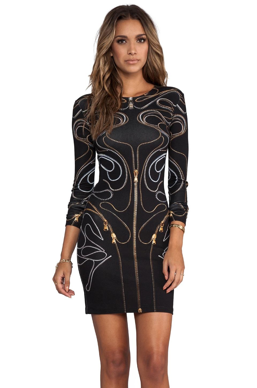 McQ Alexander McQueen Long Sleeve Zipper Dress in Black