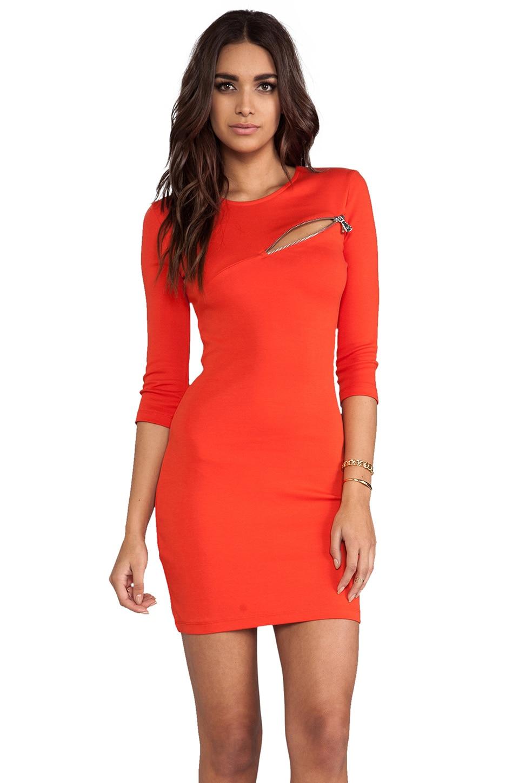 McQ Alexander McQueen 3/4 Sleeve Zip Dress in Ruby Red