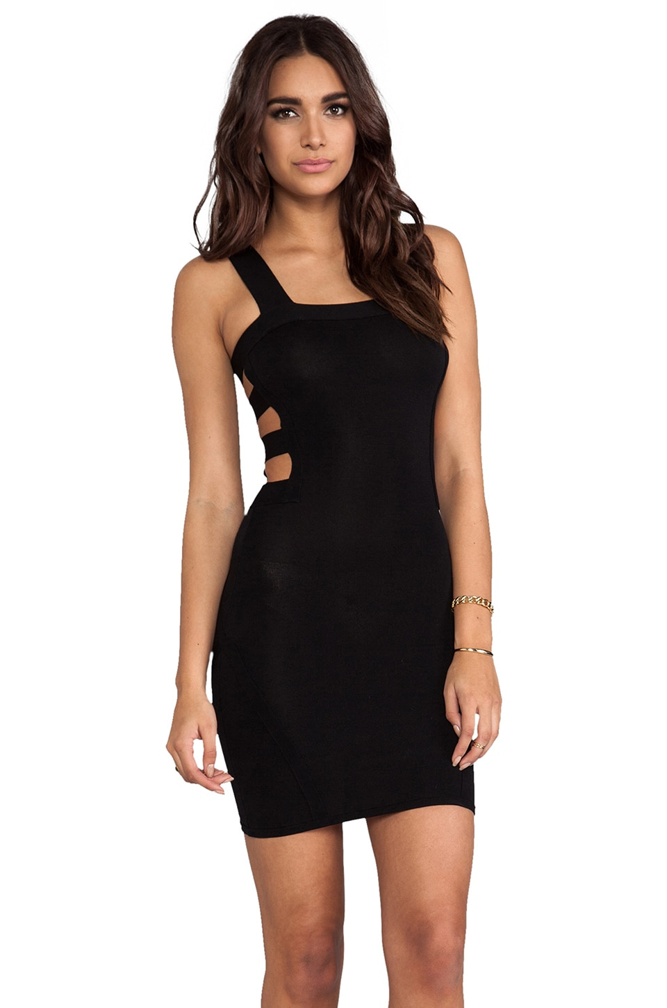 McQ Alexander McQueen Bondage Dress in Velvet Black