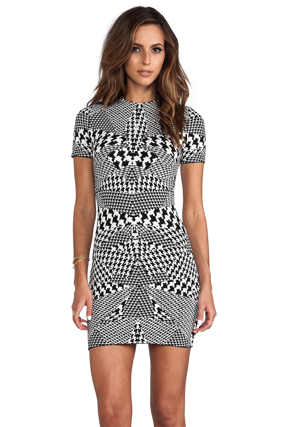 McQ Alexander McQueen Bodycon Dress in Black & White