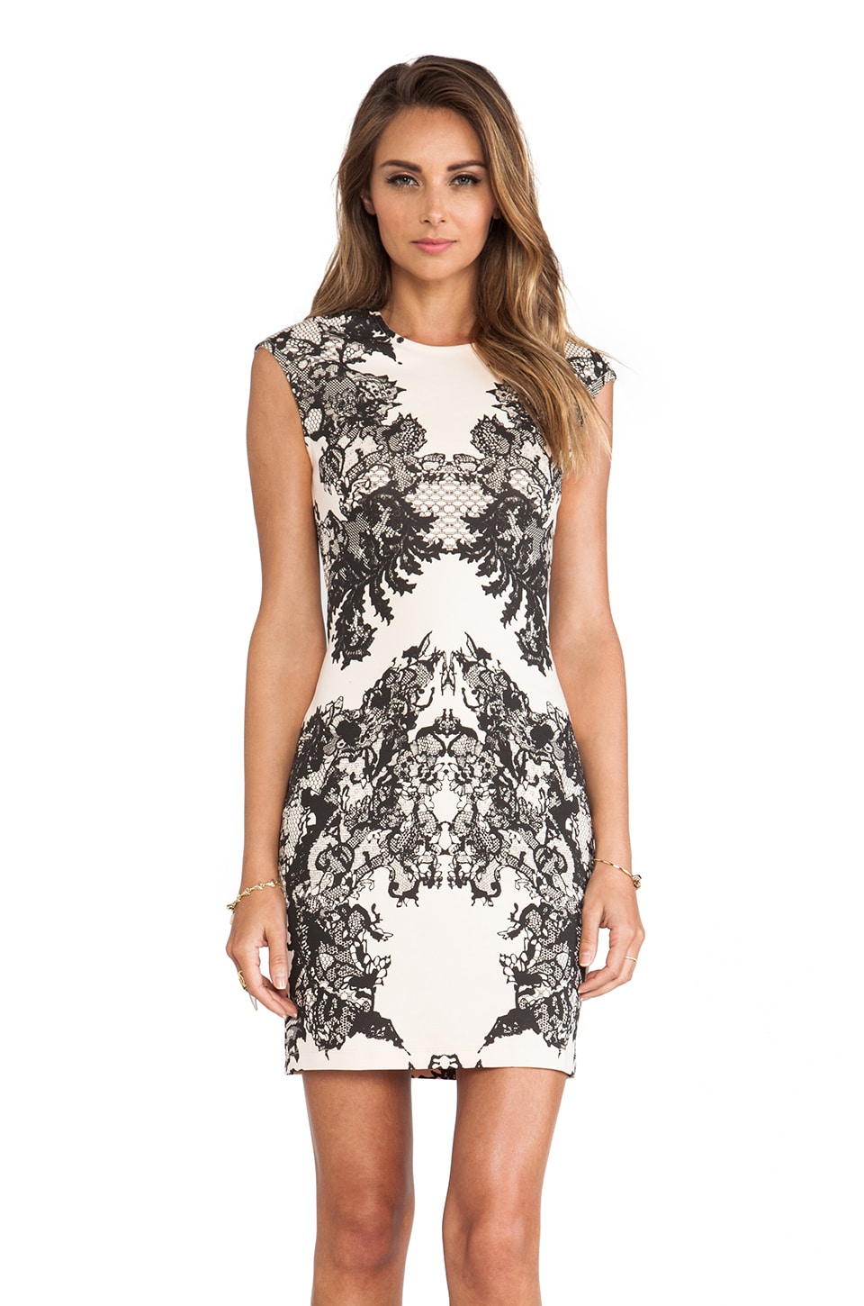 McQ Alexander McQueen Cap Sleeve Dress in Flesh