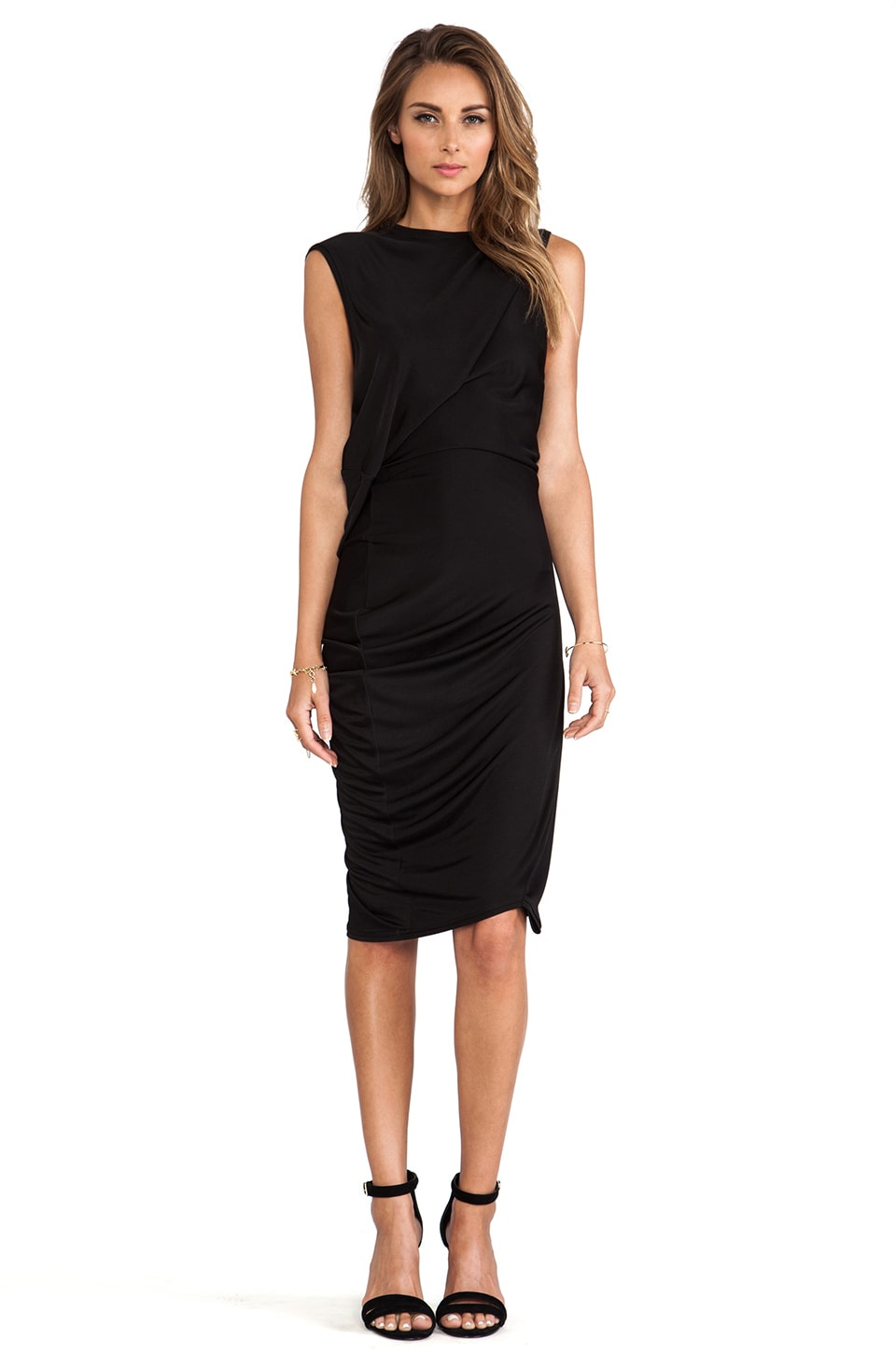 McQ Alexander McQueen T-Bend Dress in Velvet Black