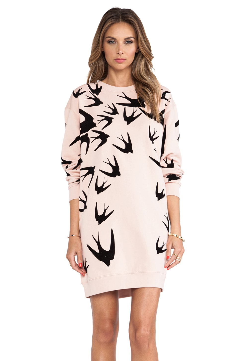 McQ Alexander McQueen Sweatshirt Dress in Tea Rose