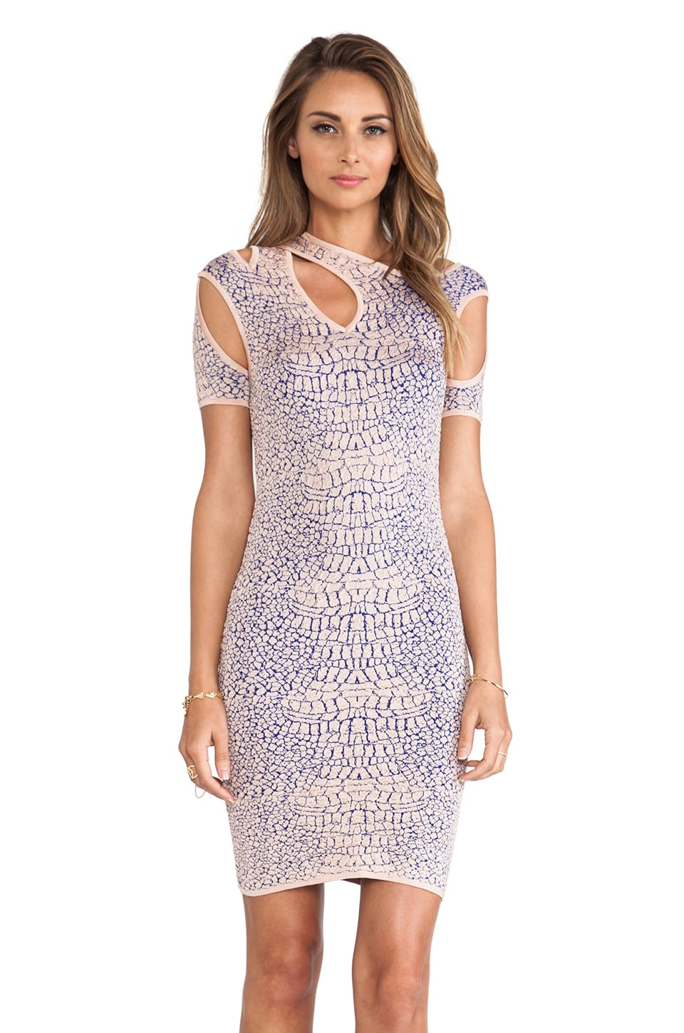 McQ Alexander McQueen Crocodile Flirty Dress in Tea Rose & Ultra Marine