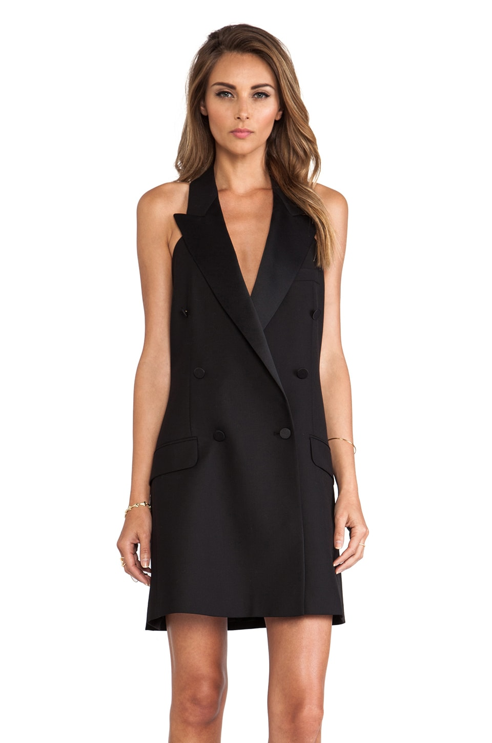 McQ Alexander McQueen Tuxedo Halter Dress in Velvet Black
