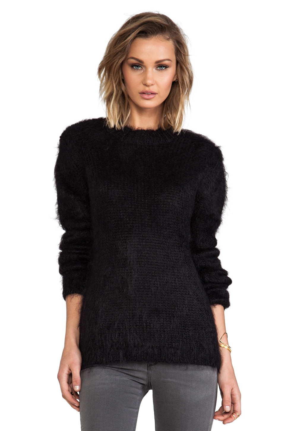 McQ Alexander McQueen Degrade Mohair Knit Sweater in Black