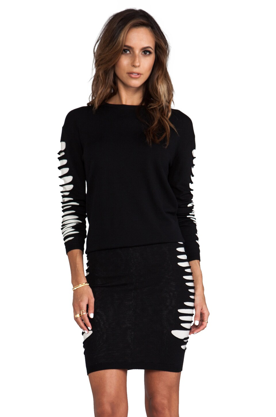 McQ Alexander McQueen Slashed Knit Sweater in Velvet Black