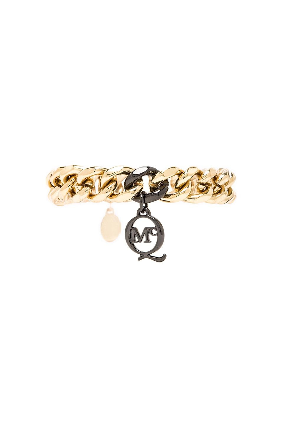 McQ Alexander McQueen Chunky Chain ID Bracelet in Light Shiny Gold