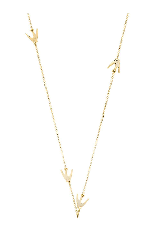 McQ Alexander McQueen Asymmetric Swallow Necklace in Shiny Gold