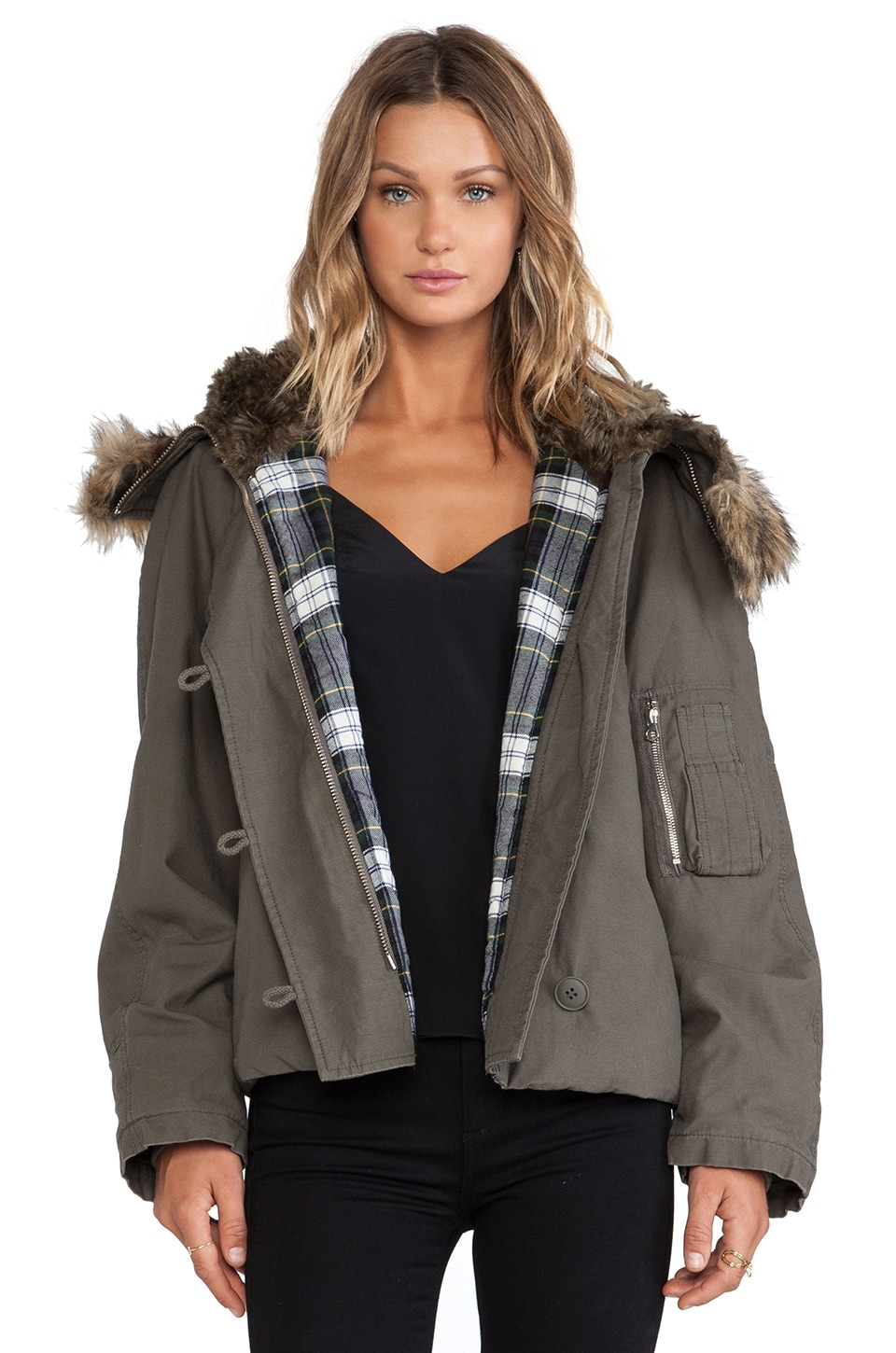 McQ Alexander McQueen Cropped Parka with Faux Fur Trim in Parka Grey