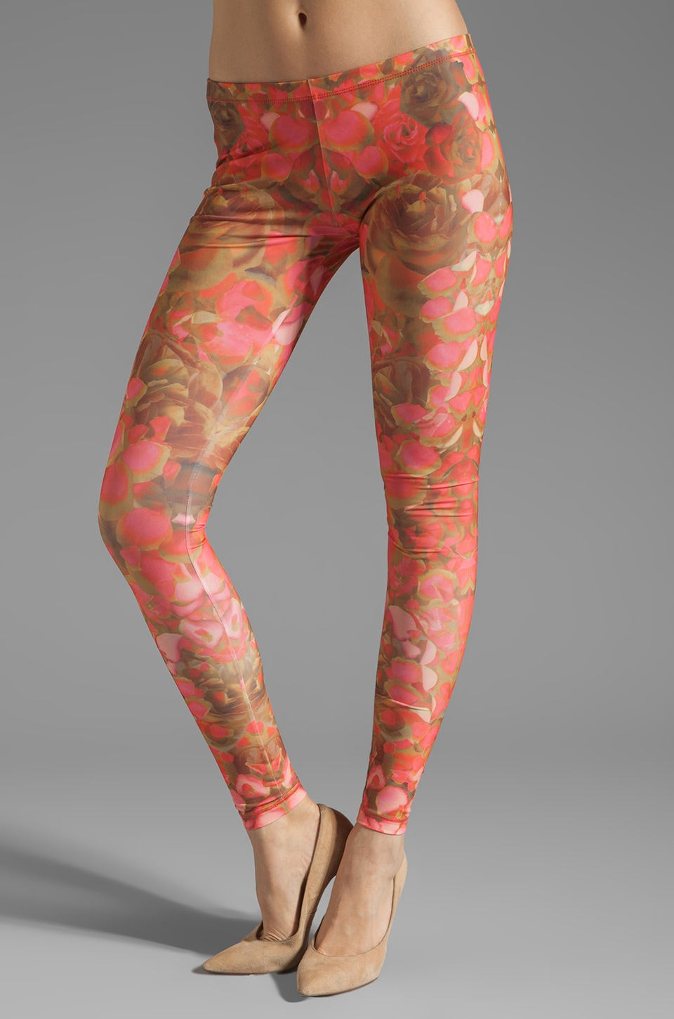 McQ Alexander McQueen Printed Legging in Hot Pink/ Brown