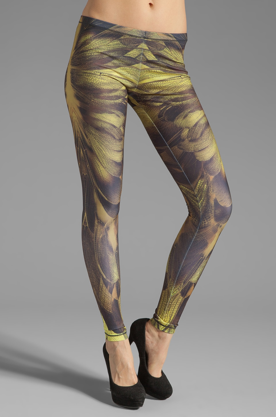McQ Alexander McQueen Printed Legging in Bleached Neon/ Brown