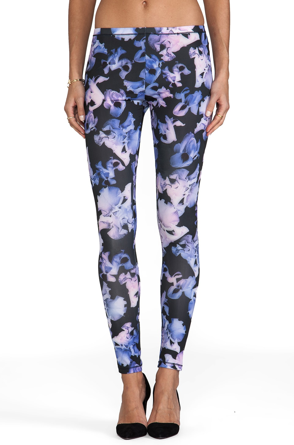 McQ Alexander McQueen Printed Leggings in Black/Cobalt/Pink