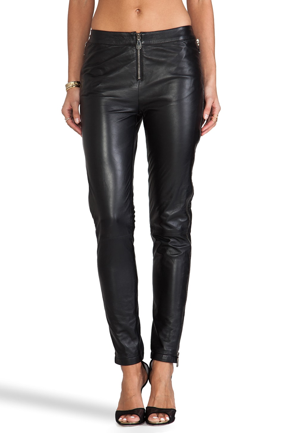 McQ Alexander McQueen Zip Leather Pant in Black