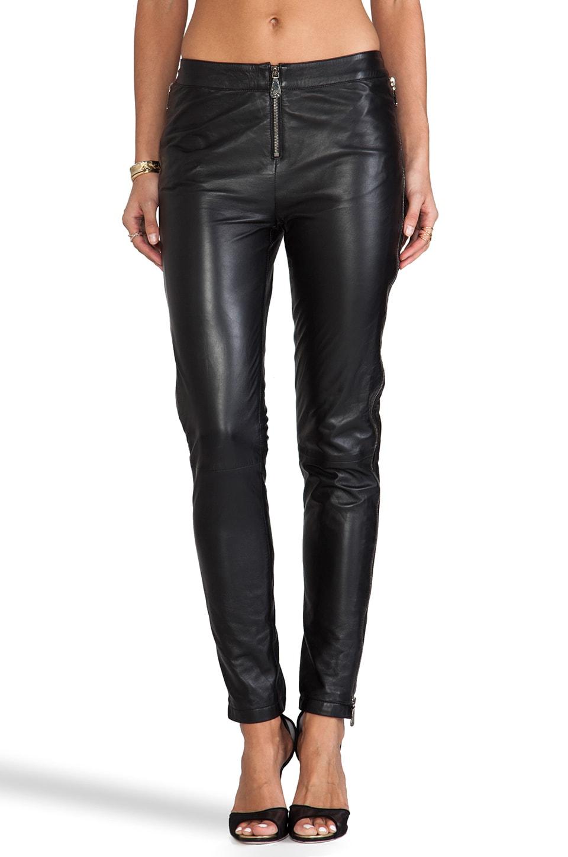 McQ Alexander McQueen Zip Leather Pant in Black