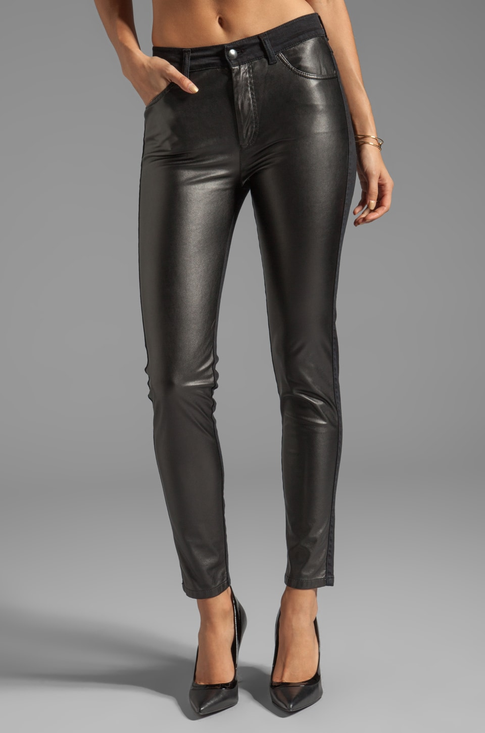 McQ Alexander McQueen Denim Leather Stretch Patch Pant in Black