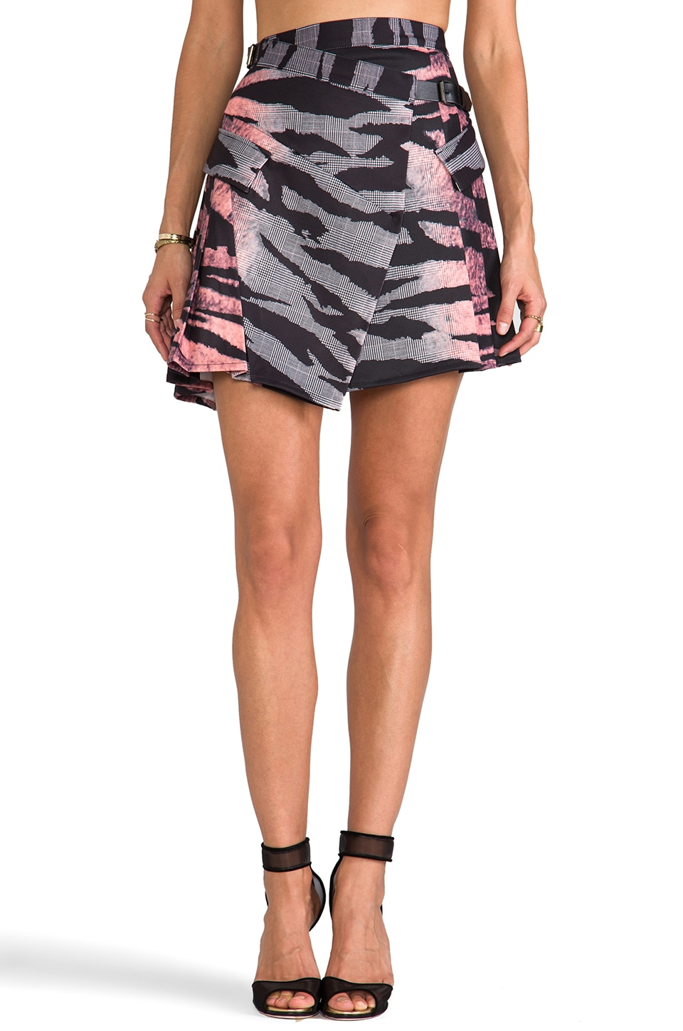 McQ Alexander McQueen Pleat Drape Mini Skirt in Pow Tiger
