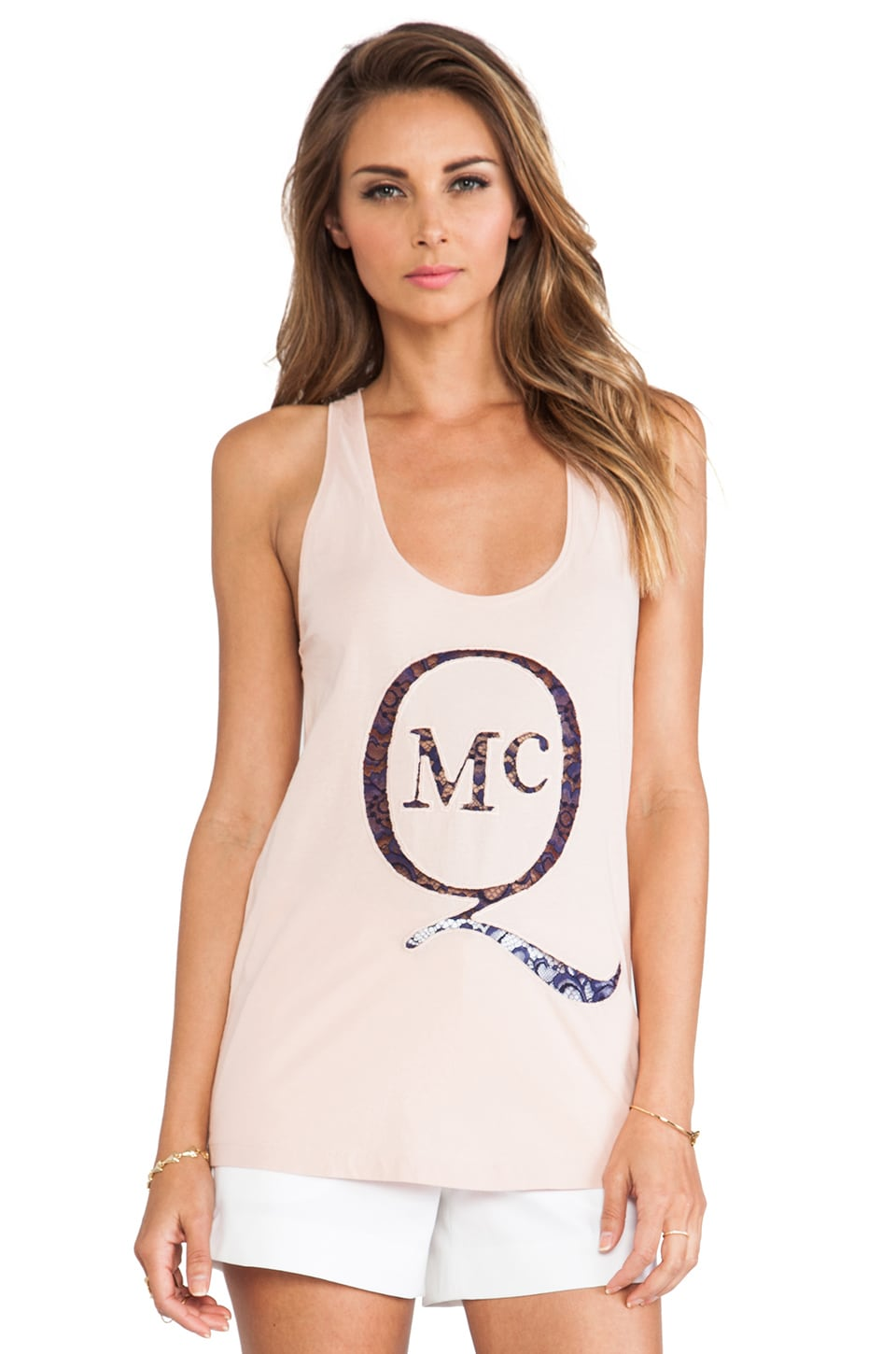 McQ Alexander McQueen Racer Back Tank in Tea Rose