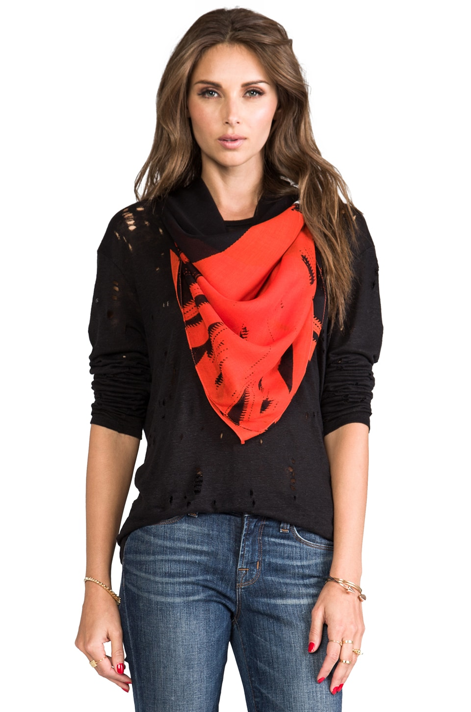 McQ Alexander McQueen Angry Eagle Scarf in Tangerine Orange