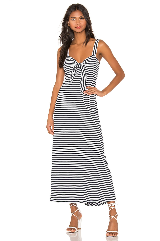 MDS Stripes Knit Tie Front Dress in Navy & White Stripe