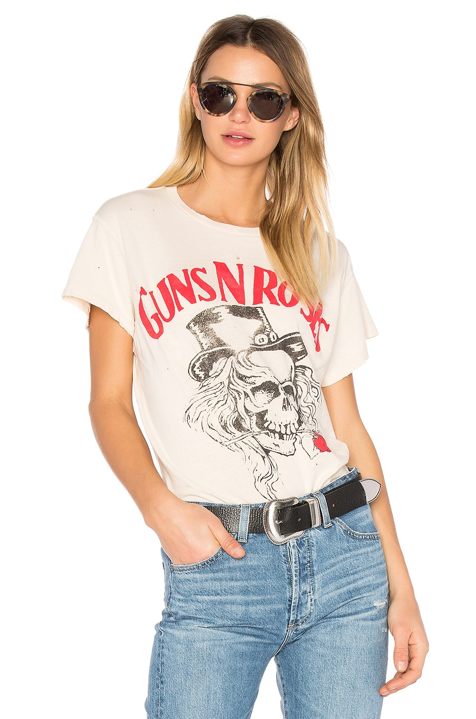 Madeworn Guns N Roses Tee in Dirty White