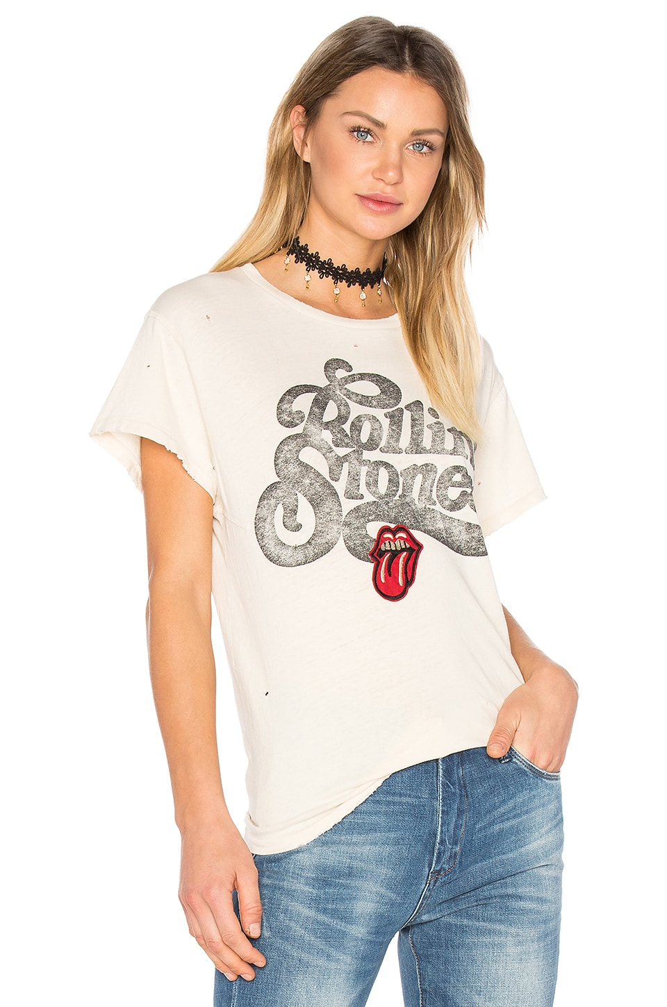 Madeworn Rolling Stones Patch Tee in Dirty White