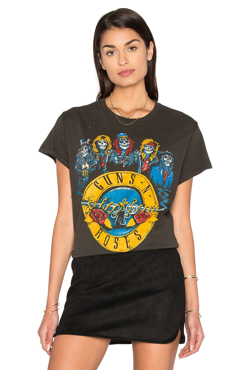 Madeworn Guns N Roses Circle Tee in Dirty Black