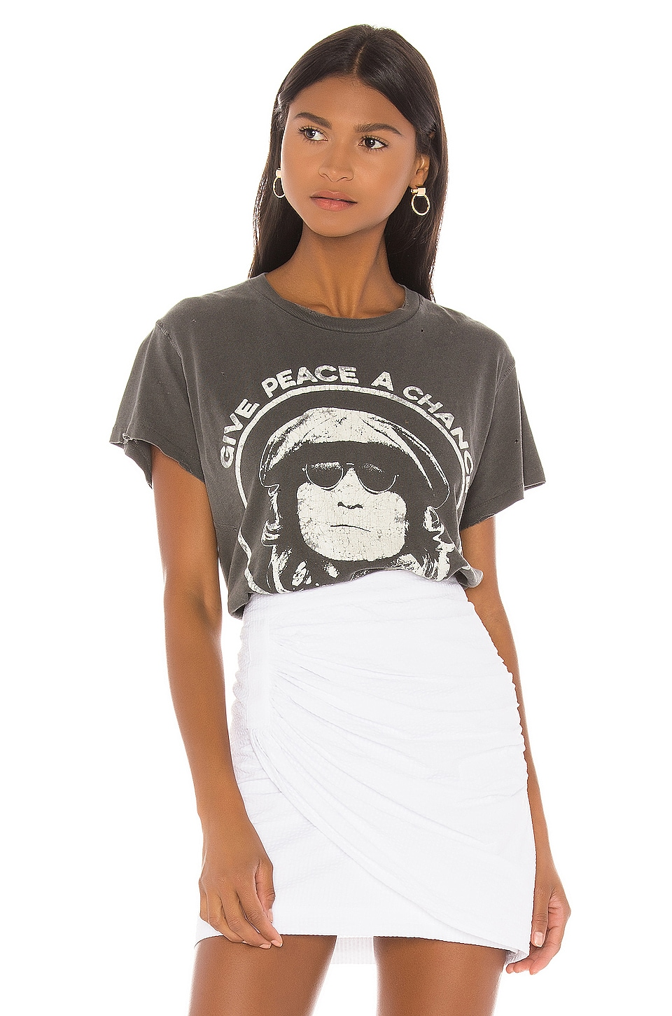 Madeworn John Lennon Give Peace A Chance Tee in Black Pigment