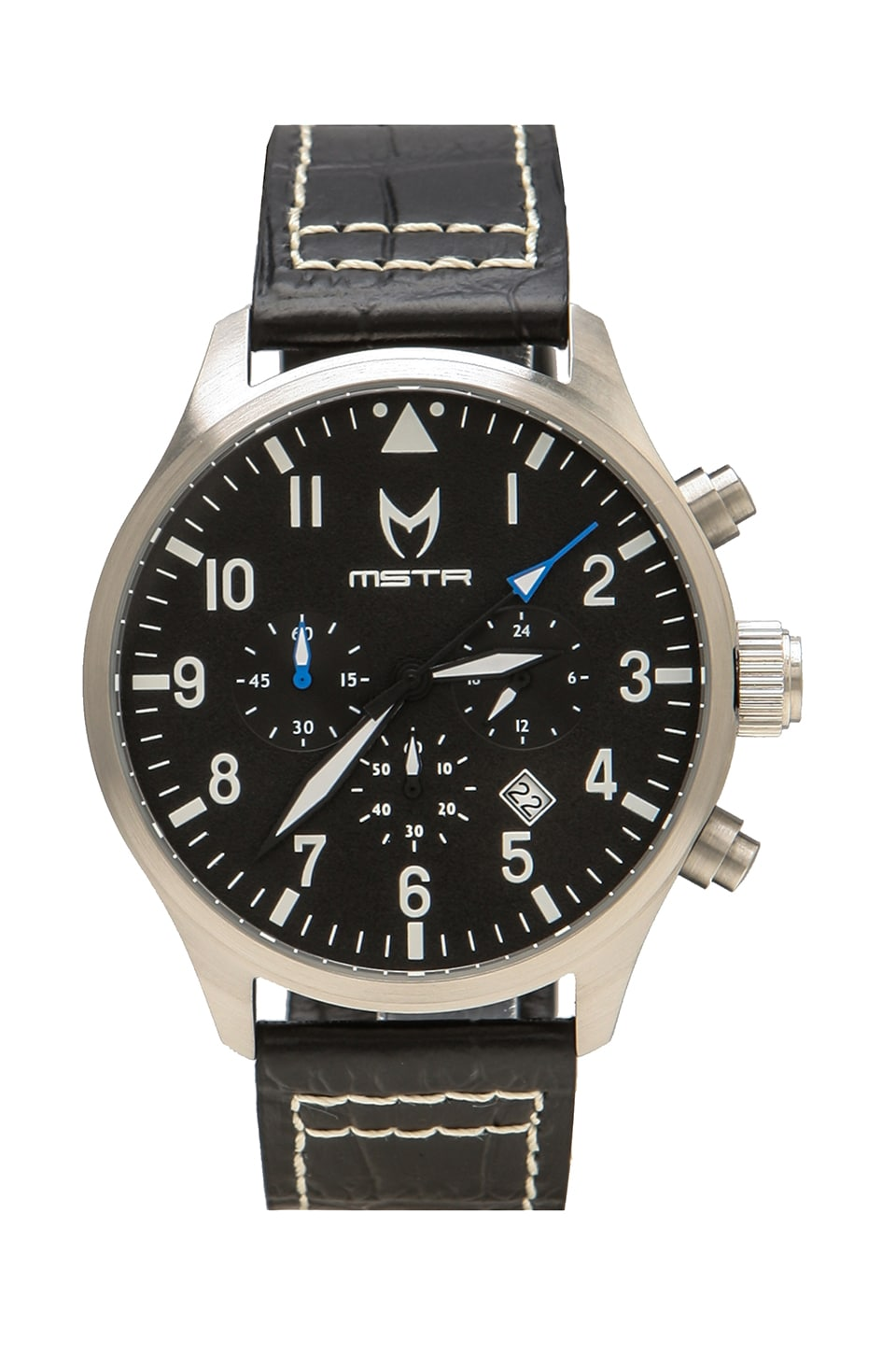 Meister Aviator Croc Leather Band in Silver/Black/Croc