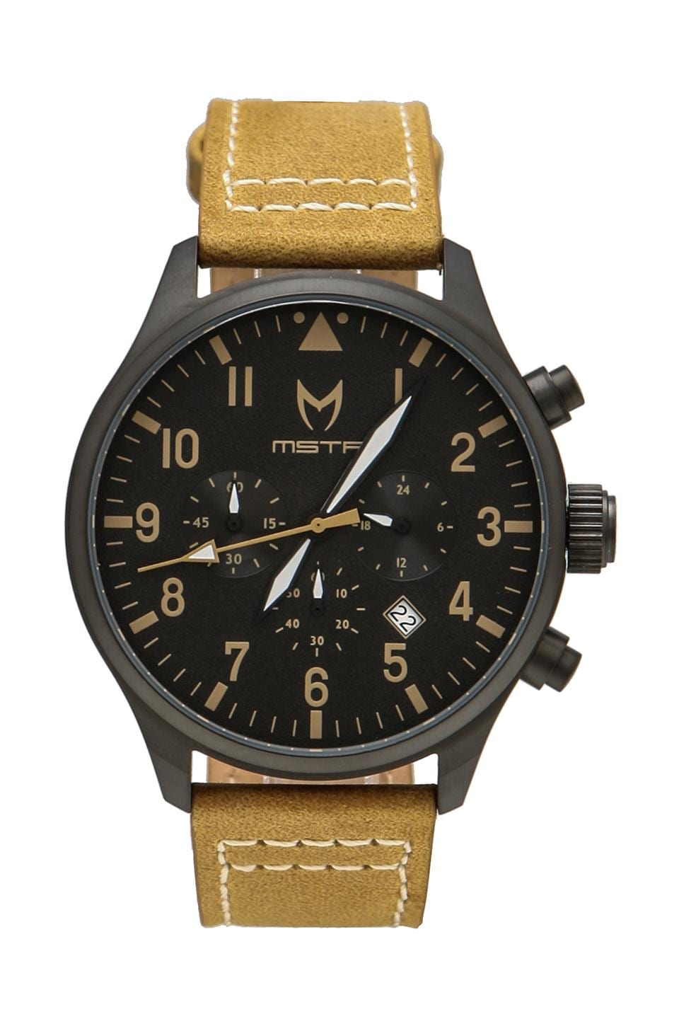 Meister Aviator Tan Leather Band in Black/Tan Leather