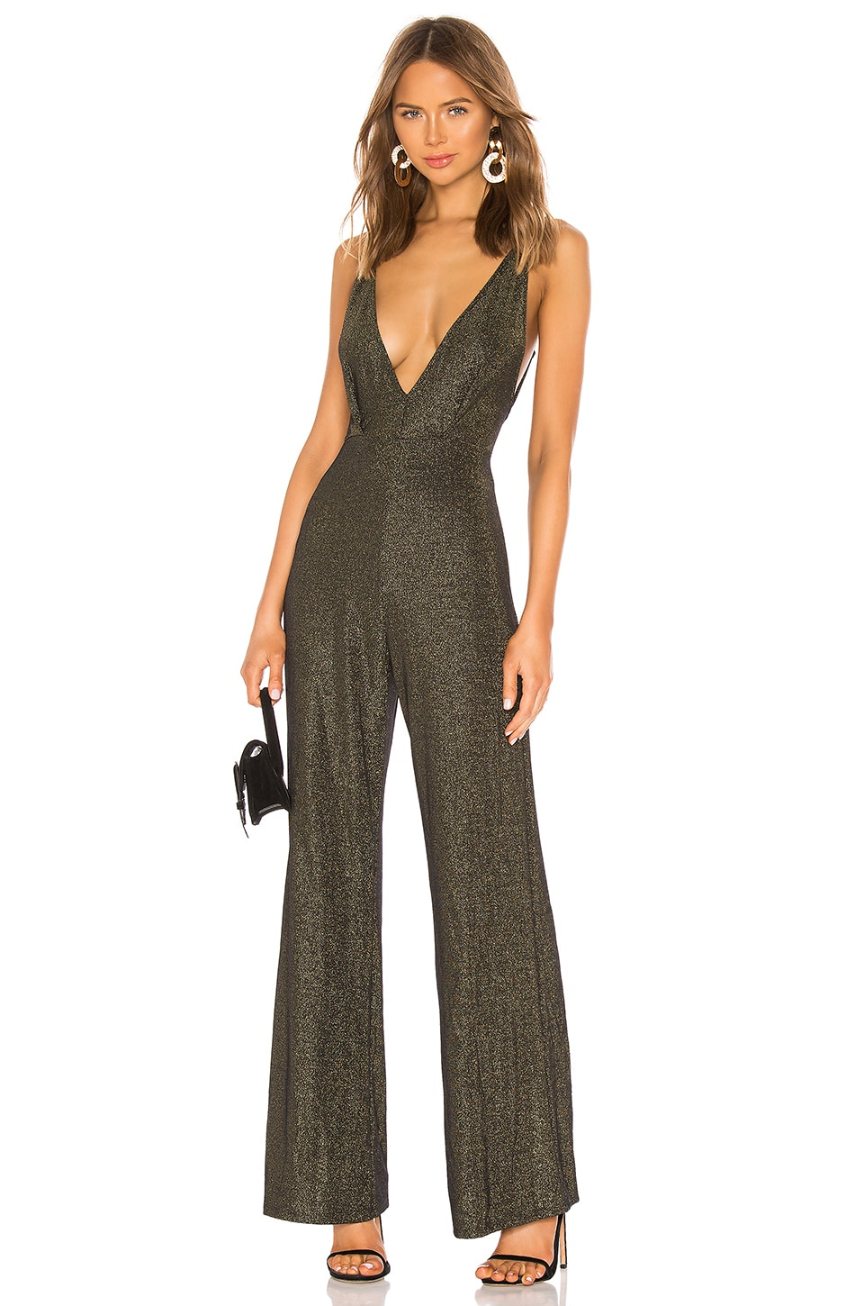 Michael Costello X REVOLVE Ditra Jumpsuit in Black & Gold