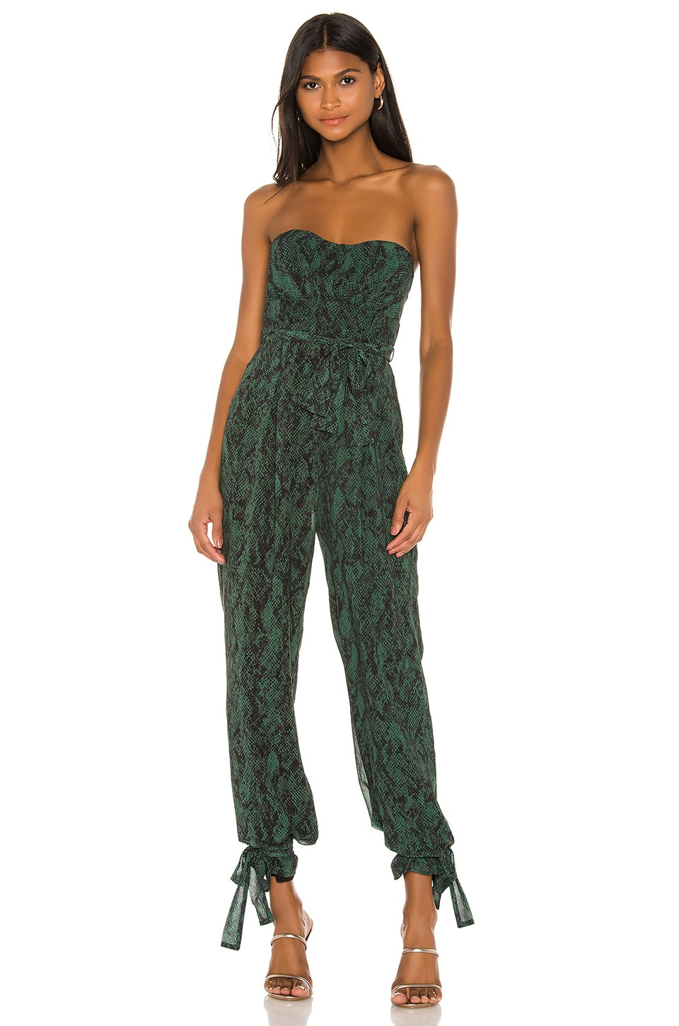 Michael Costello x REVOLVE Gwendolyn Jumpsuit in Green Snake